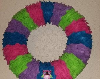 Multi Colored Owl Wreath