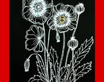 Death Poppies Screenprint (White on Black)