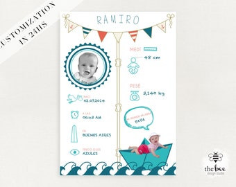 Baby Infographics poster or cards. Infografia bebe poster o tarjetas. Customized in 24hs