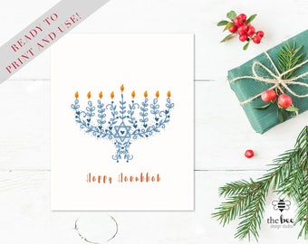Happy Hanukkah Card Printable