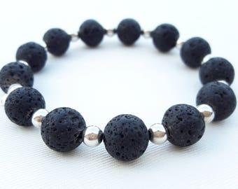 Bracciale uomo,Bracciale uomo argento 925,Bracciale black lava, bracciale argento 925,men bracelet,silver bracelet,made in italy,men outfit