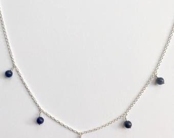 Sodalite Dainty Silver Drop Necklace - Sagittarius birthstone necklace dangly necklace drops necklace, Sagittarius crystal December necklace