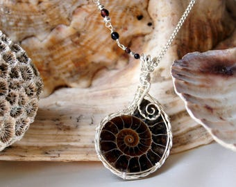 Fossil Ammonite Pendant on Silver necklace with Tigers Eye | Genuine Ammonite jewellery | Fossil jewelry | Unique pendants | Unique gifts