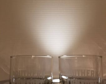 Set of 2 Southern Comfort Glasses, Glass. Whiskey, Whisky, Bar, Man Cave
