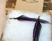 Grizzly Hackle Feather Earrings (Purple)