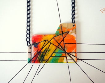 Geometric wood necklace multicolor painting