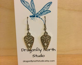 Tribal earrings - silver geometric earrings