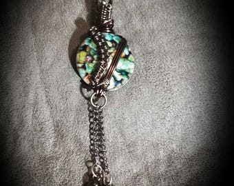 Multi-color stone sweater necklace on antique bronze chain
