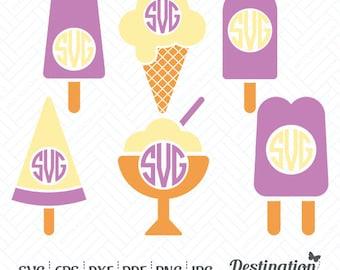 Ice Cream SVG Files, Ice Cream Monogram Frame, Cutting Files, Silhouette Files, Cricut Files, Layered Vector, dxf eps png jpg pdf, D/014