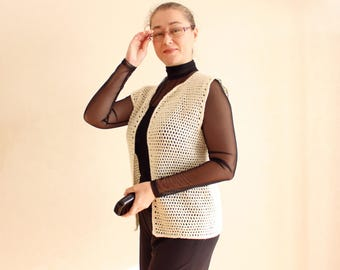 Knit gift for women gift Knit sweater vest Knit clothes women waistcoat Ladies fashion Knit white clothes Women knit fashion #SvB