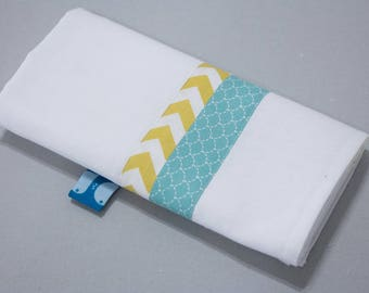 "Small Swaddle ""Calf"" - blue scales & yellow zigzag"