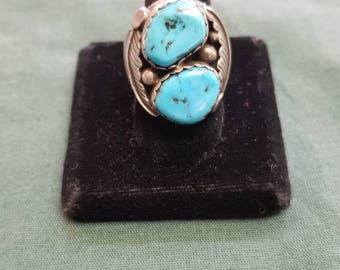 Vintage turquoise Sterling silver ring Size 10.5 SIGNED