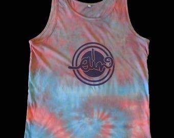 Tie Dye tank top 100% cotton Mixture blue logo size L