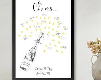 Champagne Bottle Thumbprint Guestbook Print, Fingerprint Guest Book, Wedding, Bridal Shower, Family Reunion, Alternative (8 x 10- 24 x 36)