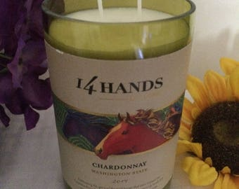 Creamy Vanilla scented handcrafted repurposed wine bottle soy candle