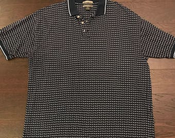 Navy Blue Patterned Polo