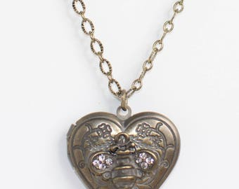 Bumble Bee Heart Locket Necklace