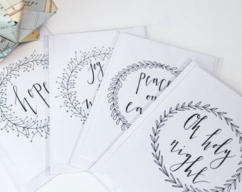 Pack of 5 Hand-Lettered Christmas Cards // Christmas Card Pack // Calligraphy Christmas Cards // Minimal // Monochrome Christmas Card