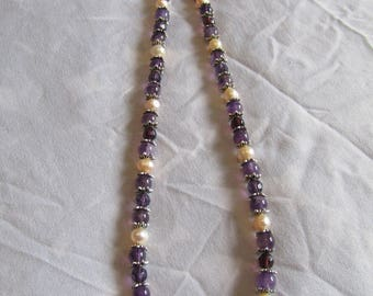 genuine Amethyst & Freshwater Pearl Necklace