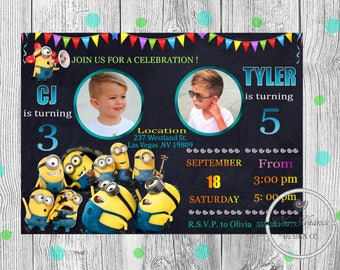 Minion twin birthday invitations Minion invitation Minion birthday  invitation Minion party Minion printable invitations Minion birthday