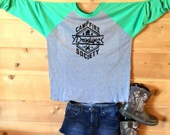 Campfire drinking society 3/4 sleeve baseball tshirt