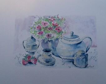 watercolor flowers: tea time