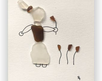 Sea Glass Girl with Flowers girls room gift outdoors pretty