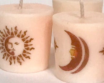 Sun Moon Stars Celestial Scented Soy Candles, Soy Votive Candles, Candle Gift Set, Astronomy Gift, Celestial Gifts, Gift for Mom