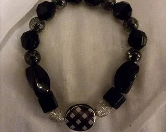 Black and gray stretch bracelet (FREE U.S. Shipping)