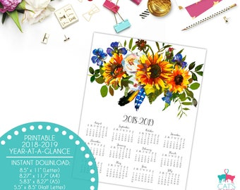 Academic Year-at-a-Glance 2018-2019 | Flax & Sunflowers | Flowers | Digital | Instant Download | Printable
