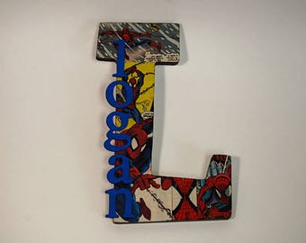 Comic Letter, Custom Letter, Spiderman Letter, Boys Room Décor, Boy Letter, Superhero Letter, Letter Art, Boy Room, Boy Nursery