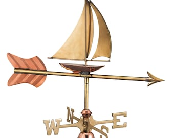 Sailboat Garden Weathervane - Pure Copper w/Garden Pole and Roof Mount