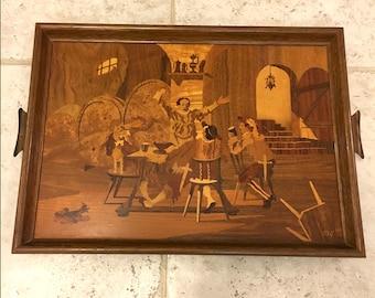 Vintage Mid Century Buchschmid & Gretaux German Wood Inlaid Veneer Tavern Scene Tray signed BG