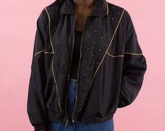 90s Windbreaker, Vintage, Studs, 80s Windbreaker, Black, Gold, Spring Jacket, Sportswear, Studded, 80s, 90s, Futuristic Clothing, Disco