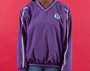 Baseball, Windbreaker, Purple, 90s Clothing, Pullover, 90s Windbreaker, Spring, Baseball, Sportswear, Embroidery, Sports, Athletic, Medium
