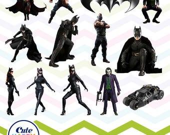 Batman Clipart, Batman PNG, The Joker Files, Printable Clipart, Transparent Background PNG, Digital Files for Kids - CUTE-033