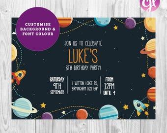 x50 Space Theme Invitations   Birthday Party invitations   Solar System Invitations   Space Invitations   Little Boys Birthday Invitations