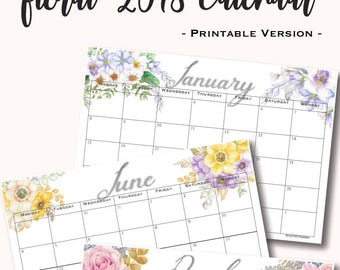 floral 2018 calendar - Printable -
