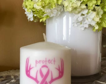Breast Cancer Awareness Candle, Pink Ribbon, Protect Your Rack, Gift, Breast Cancer Awareness Month