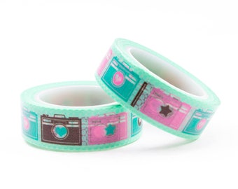 Green washi tape with camera
