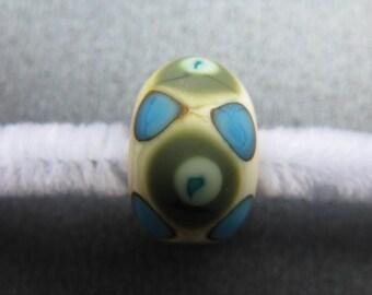 Lampwork Focal Bead, Handmade Lampwork Focal Bead, Matte Focal Bead, Turquoise, Green, Yellow, Charcoal, Ivory, OOAK Lampwork Bead - HGD1482