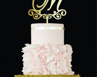 Letter M cake topper wedding cake topper wood Initial Wedding Cake topper silver M cake topper rustic cake topper Gold Monogram Cake topper