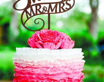 Customized wedding cake topper Wedding Cake Topper Cake Topper for Wedding Mr and Mrs Cake Topper Wood Cake Topper gold surname cake topper