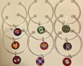 Superhero Bracelet, Superhero Bangle, Superhero Charm Bracelet