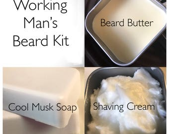 Working Man's Beard Kit with Beard Butter, Shave Cream, and Soap Handmade by SterlingSoapCo