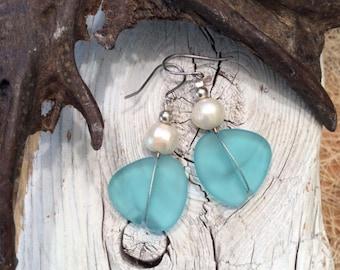 Light Aqua Sea Glass Earrings w Fresh Water Pearls, Beach Glass, Recycled Glass, Earrings, Eco-Friendly Recycled, Environmentally Friendly