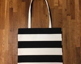 Black and white stripy tote, Stripy tote, Stripy tote bag, Black and white stripes, Stripy cotton bag, Stripy shopper, Retro bag, Beach bag