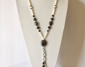 """27"""" Opera necklace + 2 dangling drops. Genuine Mother-of-Pearl with Hematite. Stylish, Pizzazz, Striking, Statement Jewelry in Black & White"""