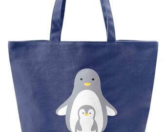 Personalized Women's cute Canvas Shoulder Hand Bag Tote shopping Bag Beach tote bag Gift bag Book tote bag (Cute Penguin)