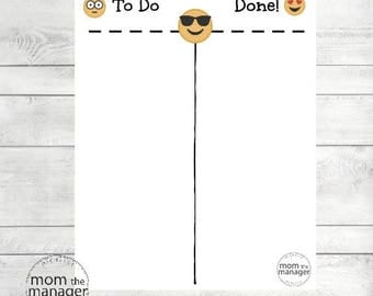 Instant Digital Download To Do and Done: Emoji Chart for Daily Routines, Tasks and Chores